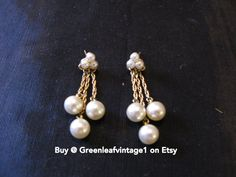 Dangle Pearl Earrings Pierced Earrings Fox by greenleafvintage1, $32.99