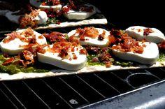 Pancetta, Prosciutto, Sundried Tomato & Pesto Grilled Flatbread Pizza #FlatoutGood