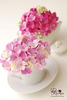 gum paste hydrangeas in tea cups -