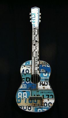 the license plate guitars look so neat