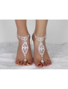 Geometric Rhinestoned Toe Ring Anklet - Silver White For Women Silver Plated Anklet Jewelry, Anklets, Body Jewelry, Feet Jewelry, Indian Jewellery Online, Indian Jewelry, Fashion Jewelry, Women Jewelry, Walmart Jewelry