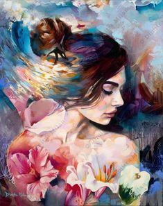 Canvas) by dimitra milan beautiful paintings, art on canvas, oil painting. Oil Painting On Canvas, Painting & Drawing, Canvas Art, Woman Painting, People Art, Portrait Art, Beautiful Paintings, Aesthetic Art, Art Oil
