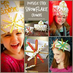 Super cute Popsicle Stick Snowflake Crowns. Great for #wintercrafts. (Repinned by Super Simple Songs.)