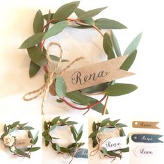 Mini eucalyptus wreaths with handwritten calligraphy #nametag . A perfect #calligraphyplacecard for a #uniquewedding table setting at a #rusticwedding , #countrywedding , #woodlandwedding , #driedflowerwedding and #summerwedding. Can be personalised with any colour and style name tag or dried flower for your #wedding. #poppyandpipkin