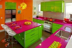 Colorful Kitchen Combine Green Purple Orange Colored Kitchen