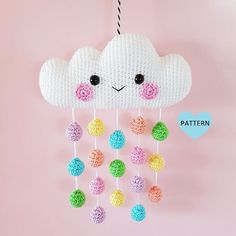 Cloud Mobile PDF Pattern, crochet, amigurumi * Please note that this is a crochet pattern PDF and NOT a finished item * ………………………………………………………………………………………………………… This is a pattern for a super cute and happy Cloud. Crochet Amigurumi, Amigurumi Doll, Crochet Dolls, Mobiles En Crochet, Crochet Mobile, Cloud Mobile, Crochet Gifts, Cute Crochet, Crochet Summer