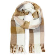 Miss Selfridge Gingam pink/cream/camel scarf ($20) ❤ liked on Polyvore featuring accessories, scarves, pink shawl, pink scarves, miss selfridge and cream shawl