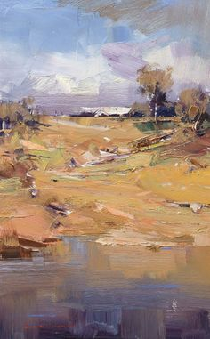 Hillside Impression. Oil. 36 x 23 cm, Ken Knight