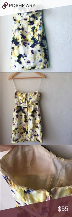 J.crew yellow printed strapless dress Fun dress by J.Crew. Slimming and comfortable; perfect for summer. Dress it up or down. 2 for 15% off. J. Crew Dresses Strapless