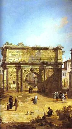 Rome, The Arch of Septimius Severus by (Giovanni Antonio Canal) Canaletto. Painting analysis, large resolution images, user comments, slideshow and much more. Italian Painters, Italian Artist, Ancient Ruins, Ancient Rome, Jean Antoine Watteau, Rome Antique, The Royal Collection, Renaissance, Grand Canal