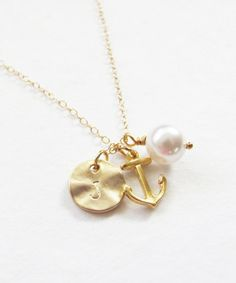 Initial Charm With Anchor & Pearl Necklace by Teilla
