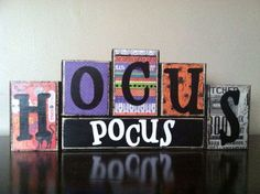 Wood Hocus Pocus blocks. Seasonal home decor for fall and halloween decorating. They are the perfect size for a window sill, bookshelf, end