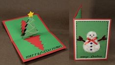 How to Make DIY Pop Up Christmas Card with Tree and Snowman. Pop Up Tutorial with Christmas and Spread the spirit of Christmas with DIY Christmas cards this year. Learn how to make pop up Christmas cards with Pop Up Christmas Cards, Diy Holiday Cards, Christmas Pops, How To Make Christmas Tree, Christmas Card Template, Christmas Origami, Homemade Christmas Cards, Pop Up Cards, Christmas Crafts For Kids
