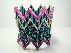 Peyote Jacobean Floral Rick Rack Bracelet by ABeadingObsession