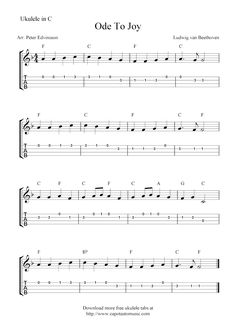 Free Sheet Music Scores: Ode To Joy, free ukulele tab sheet music