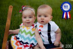Brother Sister Boy Girl Twin Matching Set Rainbow by TheTwinShop Boy Girl Twin Outfits, Boy Girl Twins, Kids Outfits, Girls, Rainbow Chevron, Rainbow Theme, Twin First Birthday, Nursery Twins, Cute Twins