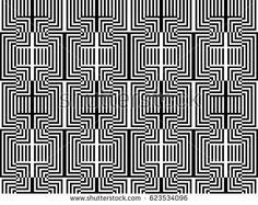Seamless pattern with black white rectangles and striped lines. Optical illusion effect. Geometric tiles by op art, art deco. Vector illusive background, texture. Artistic element, design template.