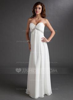 Wedding Dresses - $142.99 - Empire Sweetheart Floor-Length Chiffon Wedding Dress With Ruffle Beadwork (002011702) http://jjshouse.com/Empire-Sweetheart-Floor-Length-Chiffon-Wedding-Dress-With-Ruffle-Beadwork-002011702-g11702?ver=xdegc7h0