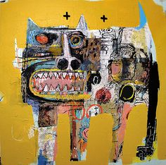 Goto in Yellow by American artist Lyle Carbajal. Cat painting.