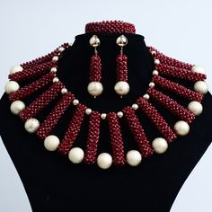 Wedding & engagement jewelry African Beads Jewelry Handmade Dark Red Crystal with Gold metal Ball sets #Affiliate