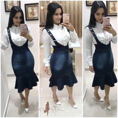 Uni Outfits, Cowgirl Outfits, Church Outfits, Skirt Outfits, Demin Dress, Mode Rock, Girl Fashion, Fashion Dresses, Wardrobe Makeover