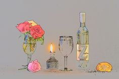Romantic wine, roses, and imagination - Postcard-like expression of wine and roses. Romantic candlelit afterglow following dinner. Interesting dessert follows?