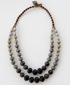 Bring a new twist to classic black and grey shades with this wear-with-all ombre necklace. Elegant and trendy, this chunky paper bead piece will anchor any outfit.