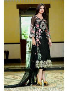 http://tinyurl.com/z9zqpyk Buy Designer SPECIAL SANO Black Georgette Santoon Nazneen Chiffon Salwar Suits Online For Women only on GetAbhi.com