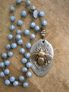 Bee Mine crochet necklace vintage inspired by 3DivasStudio on Etsy, $83.00
