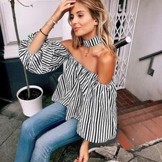 Womens Off Shoulder Vest Tank Summer Blouse Lady Casual Tops Loose T Shirt Usa Bowling Outfit, Parka Khaki, Thing 1, Next Fashion, Womens Clothing Stores, Ebay Clothing, Stripes Fashion, Shoulder Shirts, Casual Tops