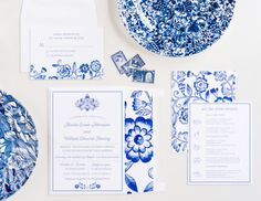 Classic Blue Wedding Invitation Collection, China Patterned Inspired, Wedding…