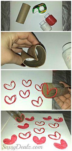 DIY Heart Stamp Using Toilet Paper Rolls (Kids Valentines day Craft) | http://www.sassydealz.com/2014/01/diy-heart-stamp-using-toilet-paper.html