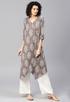 Block Printed Cotton Asymmetric Kurta Set in Grey Salwar Designs, Printed Kurti Designs, Tunic Designs, Kurta Designs Women, Kurti Designs Party Wear, Neck Designs For Suits, Designs For Dresses, Kurta Neck Design, Kurti Sleeves Design