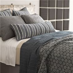 Pine Cone Hill Resist Floral Grey Kantha Coverlet