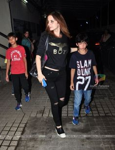 Suzanne Khan snapped with kids at PVR