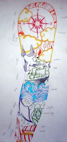 Tattoo design- Sailor sleeve by Anouk-Goodson