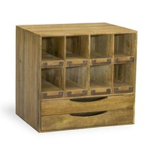 This antique style organiser is a fantastic way to maximise your storage space in vintage style. The Hoxton Tabletop Organiser is made entirely from recycled sustainable mango wood with eight little pigeon holes and two drawers to store your best office supplies. This is the perfect furniture piece for vintage style home office spaces. W 35 x D 27 x H 33 cm Weight 6.5 kg Made from mango wood Fully Assembled