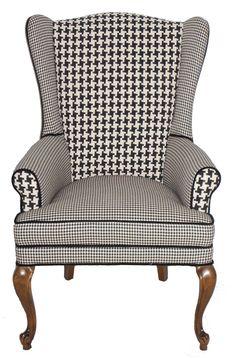 Houndstooth Wingback Armchair Vintage Refurbished. $660.00, via Etsy.
