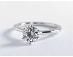 Petite Nouveau Six Prong Solitaire Engagement Ring in 14k White Gold     My Dream Engagement Ring  0.5 -0.75 vT
