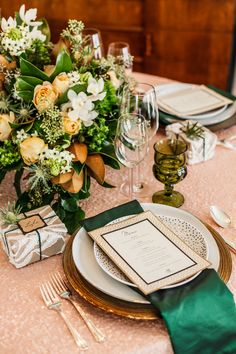 I recently collaborated with an incredible team on a festive holiday photo  shoot showcasing how much the right linens can enhance a dinner party  table. I love the classic elegance we were able to evoke, with just a touch  of va-voom with that gorgeous sparkly blush-colored tablecloth. And I have  to point out that the choice of emerald green as an accent color was chosen  long before Pantone announced the 2013 color of the year! Trend-setters  much?  CREDITS | Event Stylist: Sarah…