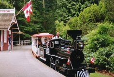 "Winding along a mile and a quarter of 20"" gauge track, the train travels over trestles and through tunnels in a picturesque journey through the forest. There are three sets of cars and four engines, one of which is a replica of Canadian Pacific Railway #374, famous for pulling Canada's 1st transcontinental passenger train into Vancouver in the late 1880s. #miniaturetrain, #vancouver"