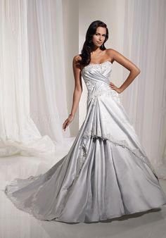 princess Beaded applique draped silver wedding dress
