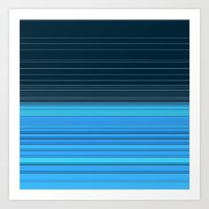 The ocean, abstract horizontal linework in blue. Art Print