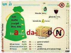 """Kvanto. Ne uzu N-finaĵon post """"DA"""". #migo #esperanto #gramatiko #kvanto #da #akuzativo #tabelvorto #rolmontrilo #litro #kilogramo #iom #iomete #tiom #kiom #multe #substanco"""