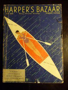 Harper's Bazaar Magazine July 1934 Erte Cover by The1957RetroStore,
