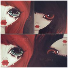 cry baby, duality, black girl, red hair,cry