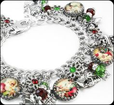 "Christmas Charm Bracelet, Silver Charm Bracelet, Santa Claus Workshop Charm Bracelet, ""Santa's Workshop"", Christmas Jewelry, Holiday Jewelry"