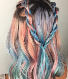 Romantic Festival Style with Metallic Peach and Blue Color design by Peach Hair Colors, Hair Dye Colors, Dope Hairstyles, Hairstyle Look, Hairstyle Ideas, Hair Color And Cut, Cool Hair Color, Hair Cut, Bright Hair