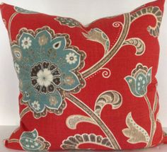 Pattern will vary but each pillows will feature a large flower. These pillows look fabulous with our aqua animal print pillow. Will give your space a fun and updated look.