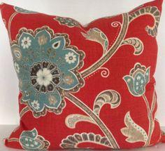 Braemore Ankara Scarlet Jacobean Decorative Pillow Cover - - Throw Pillow - Accent Pillow - Linen / Rayon - Both Sides Modern Throw Pillows, Toss Pillows, Accent Pillows, Floral Pillows, Colorful Pillows, Ankara, Pillowcase Pattern, Rugs In Living Room, Room Rugs